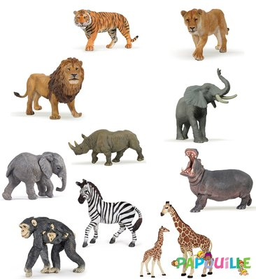 Jouets - Figurines - Lot N°4 11 Figurines animaux sauvages (figurines Papo)