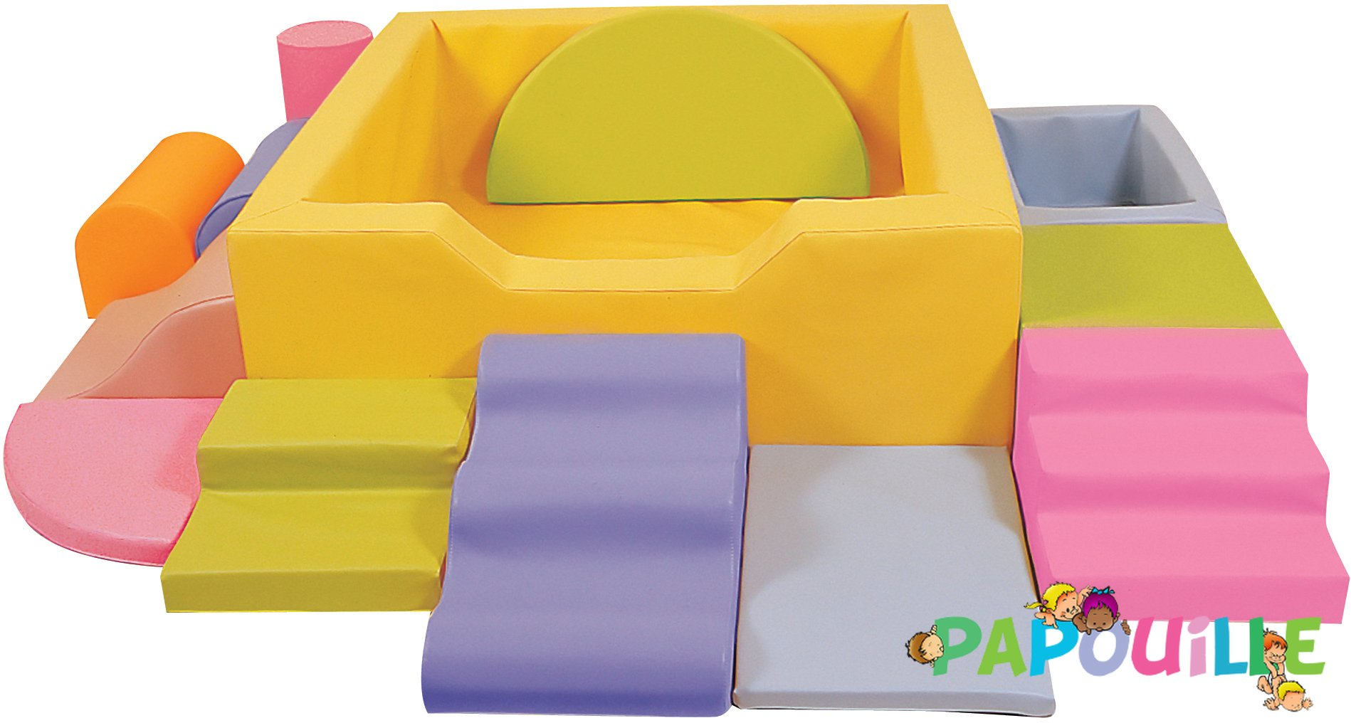 Kit Piscine à Balles Aventure avec Modules en Mousse PVC Jaune